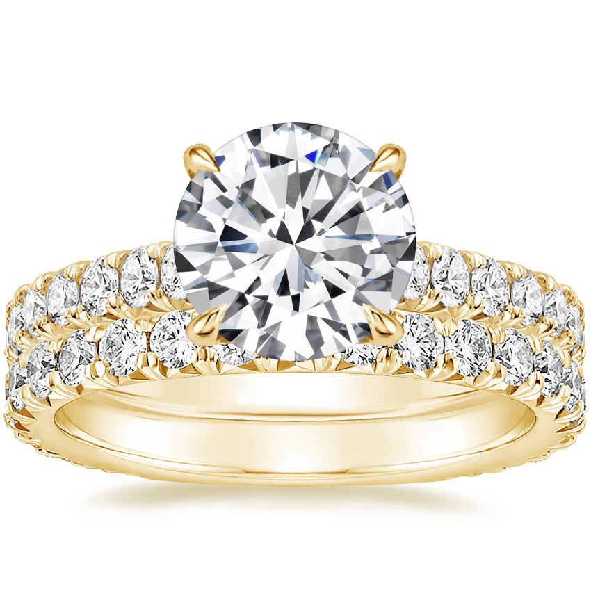 18K Yellow Gold Sienna Diamond Ring (2/5 ct. tw.) with Signature Luxe Sienna Diamond Ring (2/3 ct. tw.)