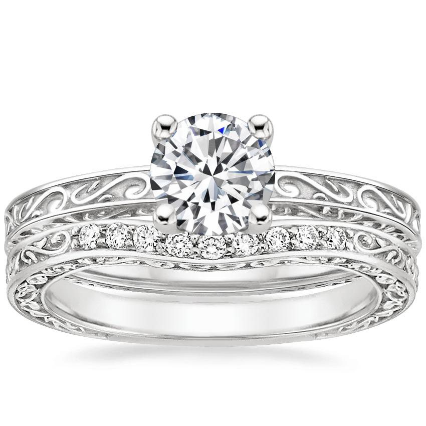 18K White Gold Delicate Antique Scroll Ring with Delicate Antique Scroll Contoured Diamond Ring (1/15 ct. tw.)