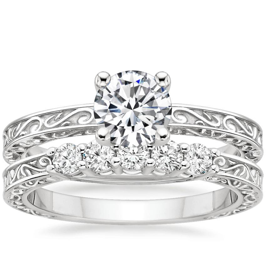 18K White Gold Delicate Antique Scroll Ring with Delicate Antique Scroll Five Stone Diamond Ring (1/4 ct. tw.)