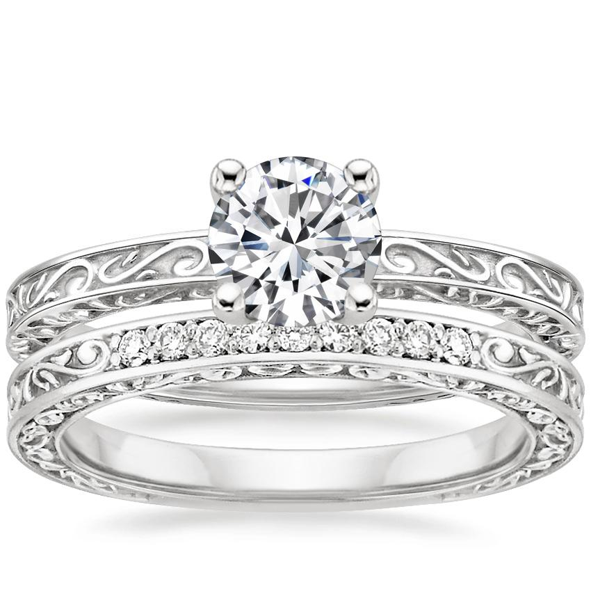 18K White Gold Delicate Antique Scroll Ring with Delicate Antique Scroll Diamond Ring (1/15 ct. tw.)