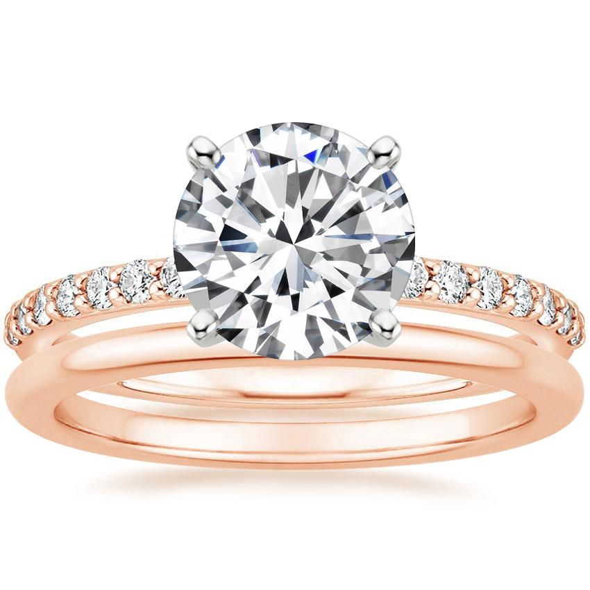 14K Rose Gold Petite Shared Prong Diamond Ring (1/4 ct. tw.) with Petite Comfort Fit Wedding Ring