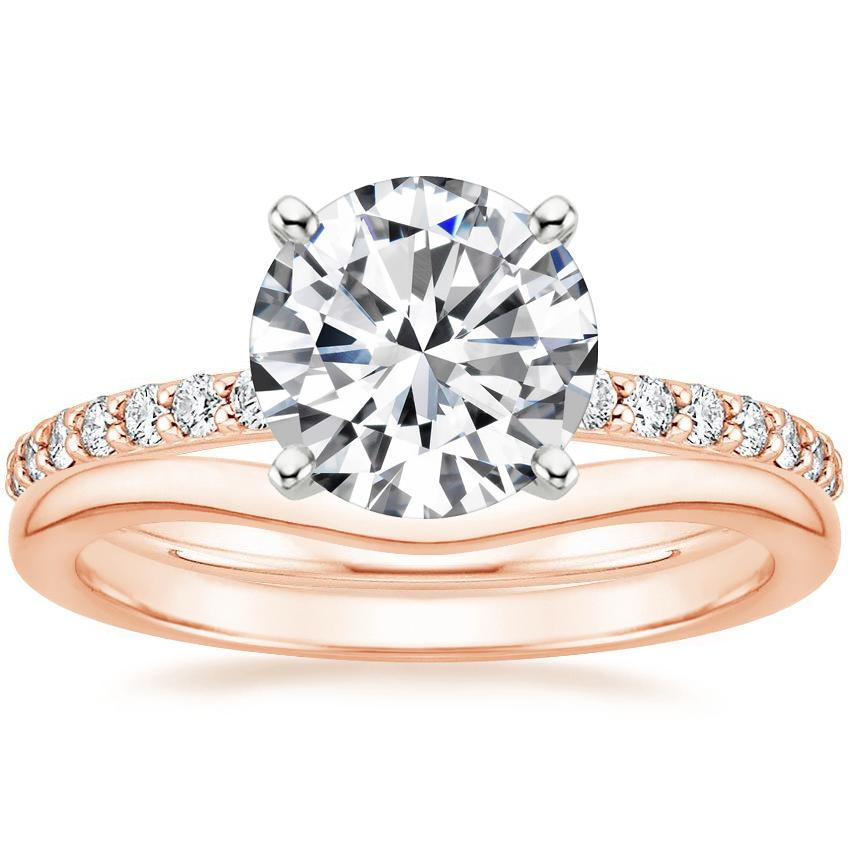14K Rose Gold Petite Shared Prong Diamond Ring (1/5 ct. tw.) with Petite Curved Wedding Ring