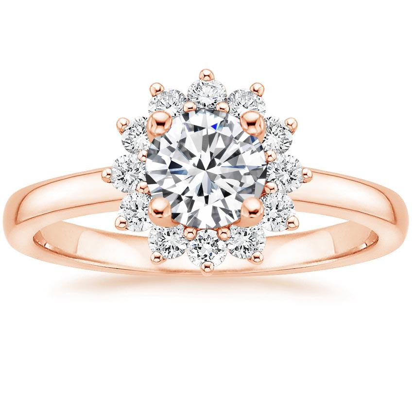 Round 14K Rose Gold Sunburst Diamond Ring (1/4 ct. tw.)