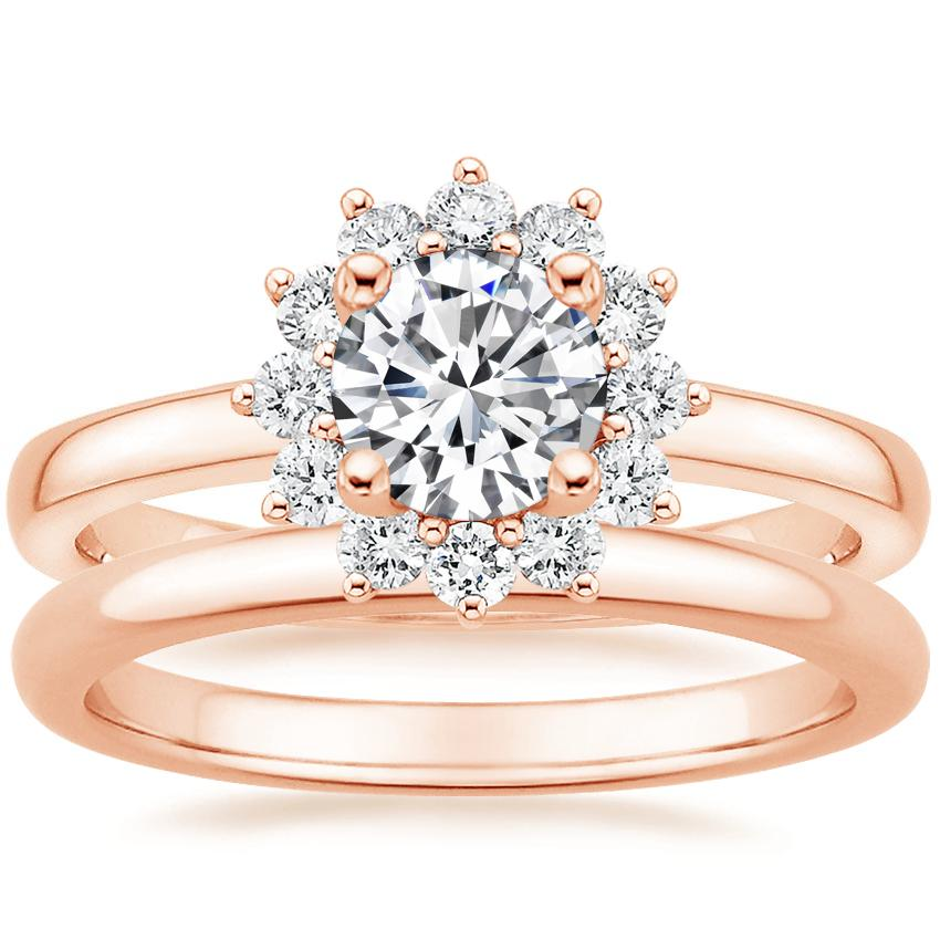 14K Rose Gold Sunburst Diamond Ring (1/3 ct. tw.) with 2mm Comfort Fit Wedding Ring