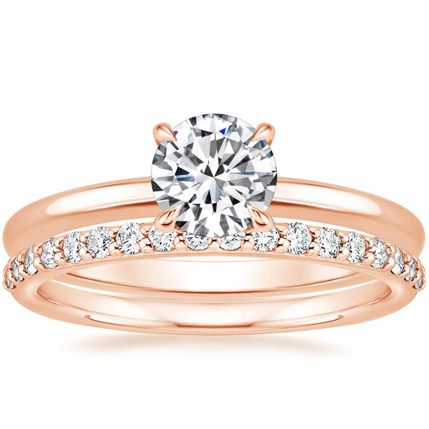 14K Rose Gold Elodie Ring with Petite Shared Prong Diamond Ring (1/4 ct. tw.)