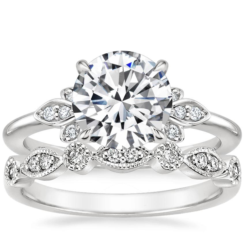 Platinum Fiorella Diamond Ring with Tiara Diamond Ring (1/10 ct. tw.)