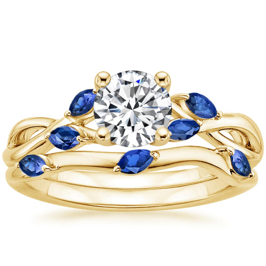 18K Yellow Gold Willow Bridal Set With Sapphire Accents