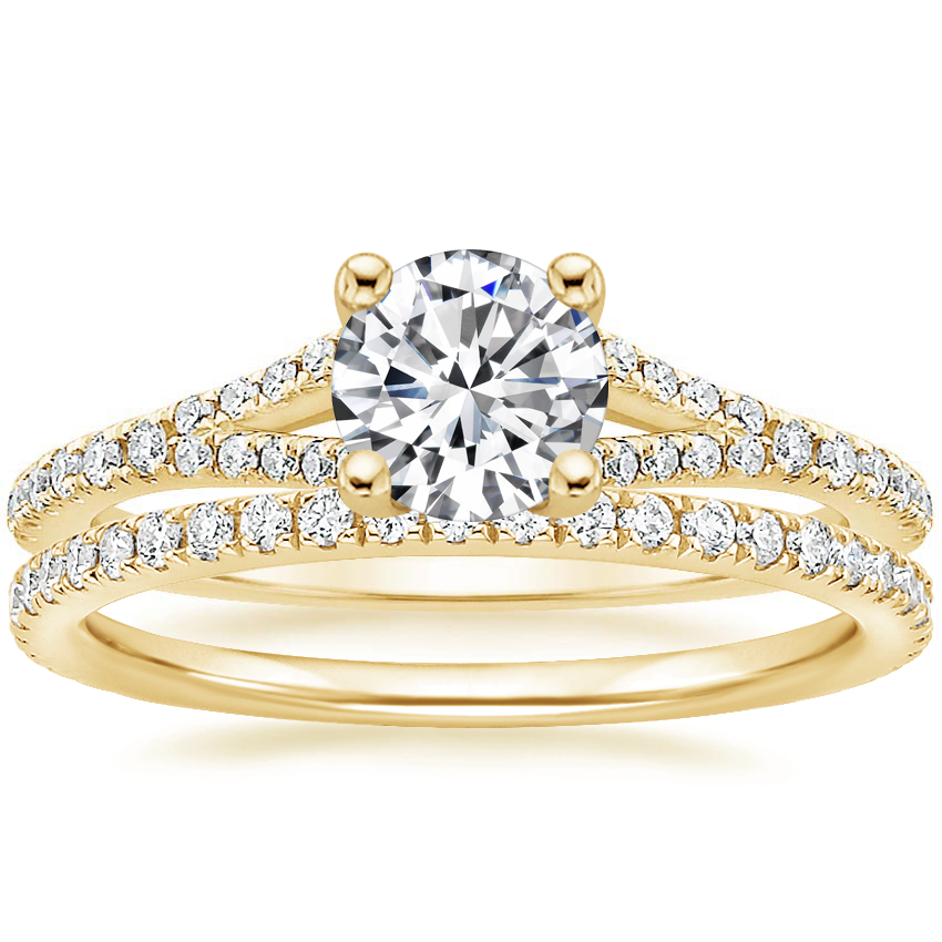 18K Yellow Gold Flair Diamond Ring with Luxe Ballad Diamond Ring (1/4 ct. tw.)