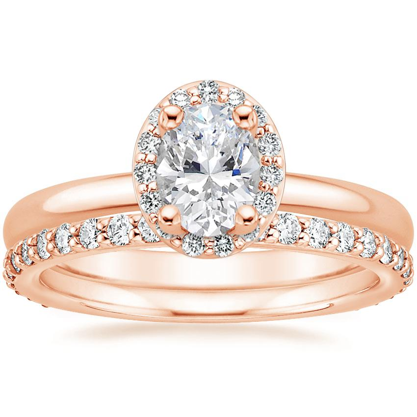 14K Rose Gold Fancy Halo Diamond Ring (1/8 ct. tw.) with Petite Shared Prong Eternity Diamond Ring (1/2 ct. tw.)