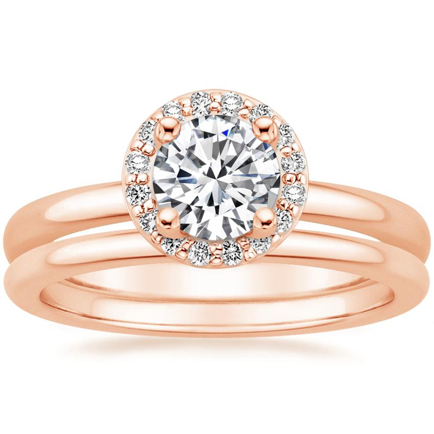 14K Rose Gold Halo Diamond Ring (1/8 ct. tw.) with Petite Comfort Fit Wedding Ring