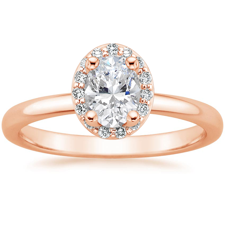 Oval 14K Rose Gold Fancy Halo Diamond Ring (1/6 ct. tw.)