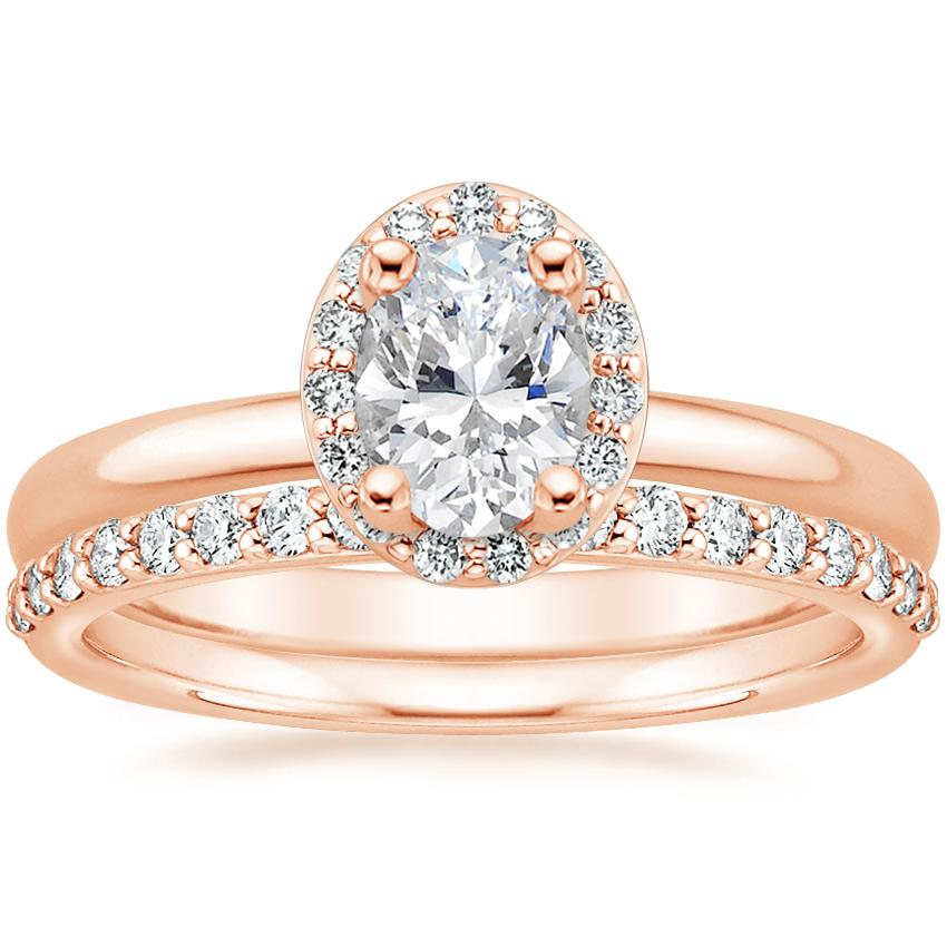 14K Rose Gold Fancy Halo Diamond Ring (1/8 ct. tw.) with Petite Shared Prong Diamond Ring (1/4 ct. tw.)