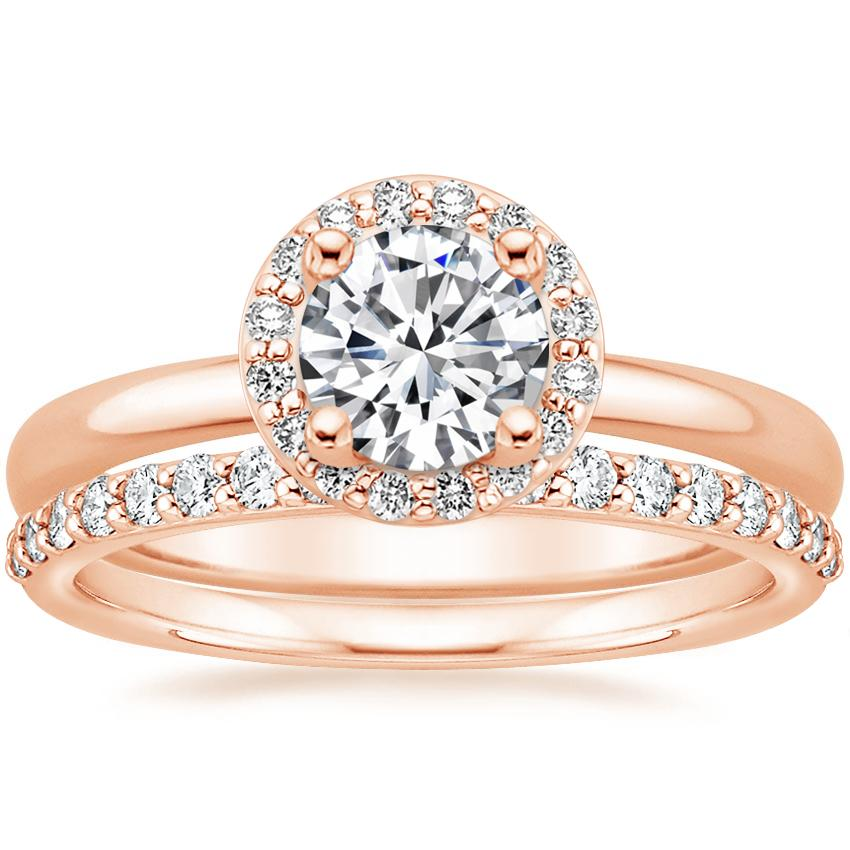 14K Rose Gold Halo Diamond Ring (1/8 ct. tw.) with Petite Shared Prong Diamond Ring (1/4 ct. tw.)