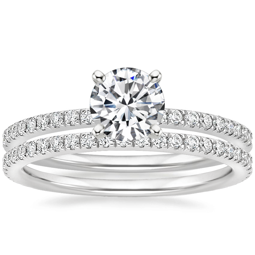 18K White Gold Ballad Diamond Ring (1/8 ct. tw.) with Luxe Ballad Diamond Ring (1/4 ct. tw.)