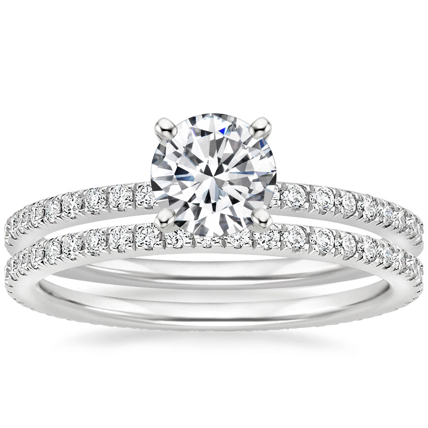 18K White Gold Ballad Diamond Ring (1/8 ct. tw.) with Ballad Eternity Diamond Ring (1/3 ct. tw.)