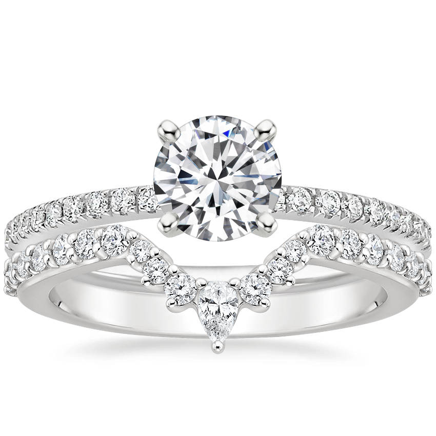 18K White Gold Ballad Diamond Ring (1/8 ct. tw.) with Luxe Lunette Diamond Ring (1/3 ct. tw.)