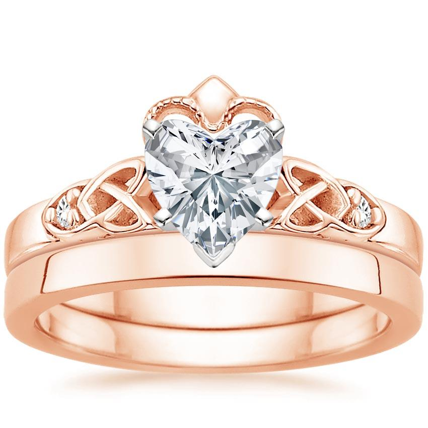 14K Rose Gold Celtic Claddagh Diamond Bridal Set