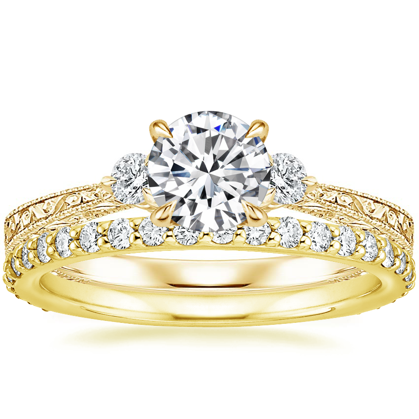 18K Yellow Gold Bristol Diamond Ring with Luxe Petite Shared Prong Diamond Ring (3/8 ct. tw.)