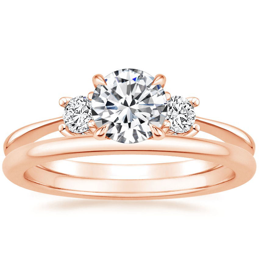 14K Rose Gold Adorned Selene Diamond Ring (1/4 ct. tw.) with Petite Comfort Fit Wedding Ring