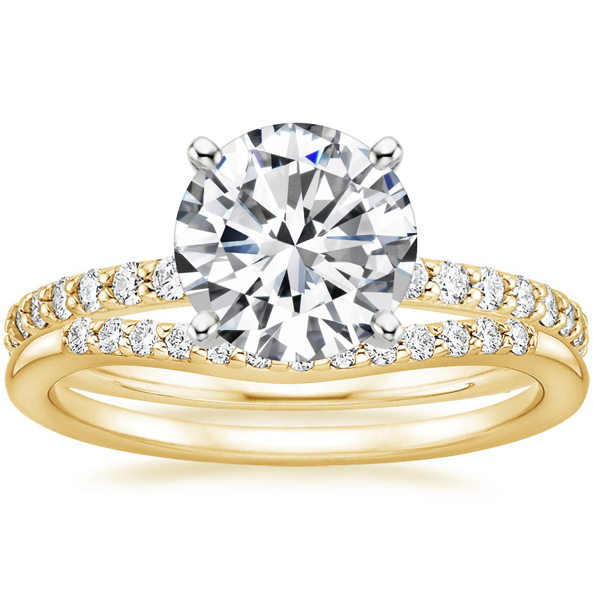 18K Yellow Gold Luxe Petite Shared Prong Diamond Ring (1/3 ct. tw.) with Petite Curved Diamond Ring (1/10 ct. tw.)
