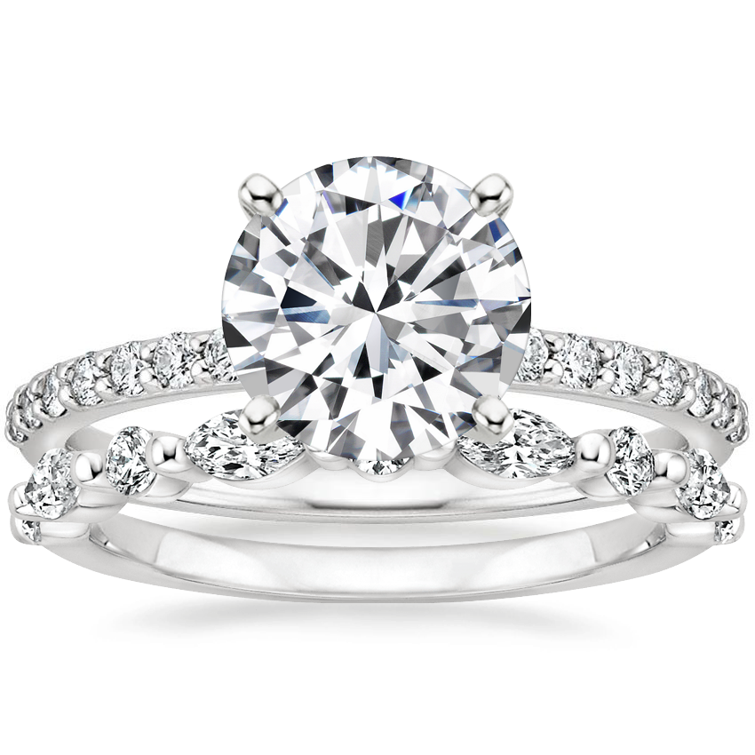18K White Gold Petite Shared Prong Diamond Ring (1/4 ct. tw.) with Versailles Diamond Ring (3/8 ct. tw.)