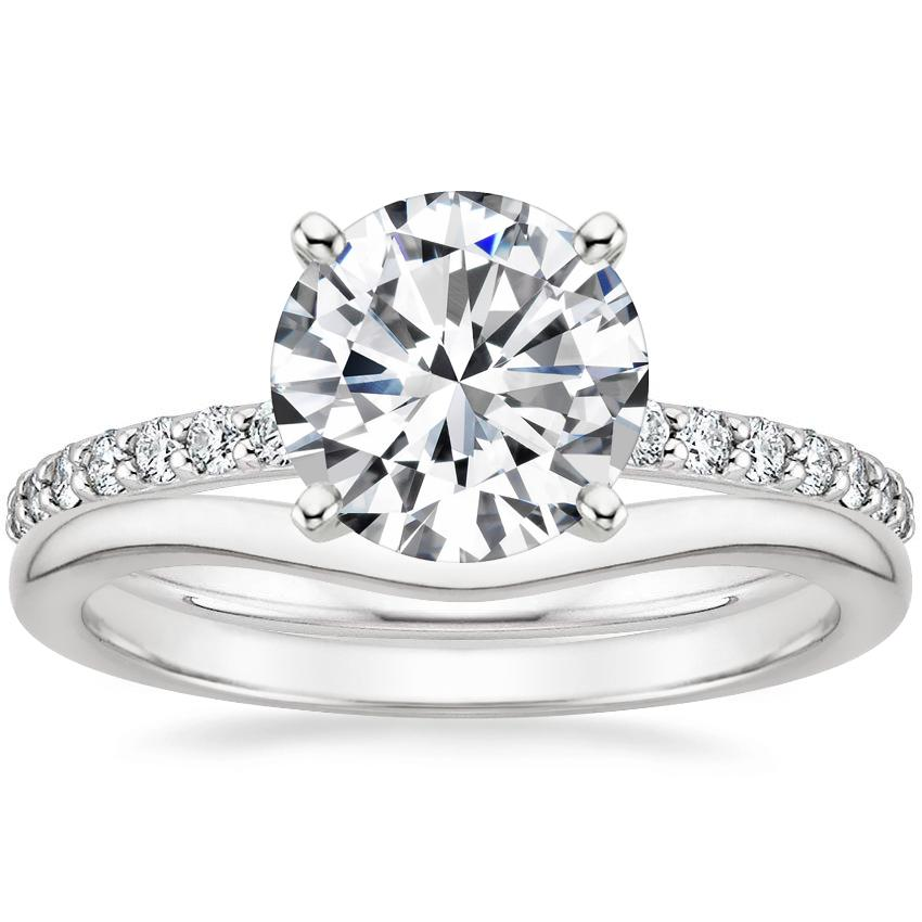 18K White Gold Petite Shared Prong Diamond Ring (1/5 ct. tw.) with Petite Curved Wedding Ring