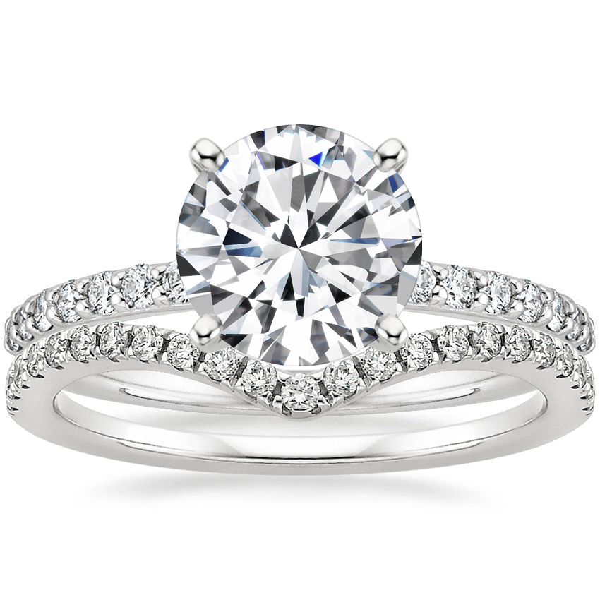 18K White Gold Petite Shared Prong Diamond Ring (1/4 ct. tw.) with Flair Diamond Ring (1/6 ct. tw.)