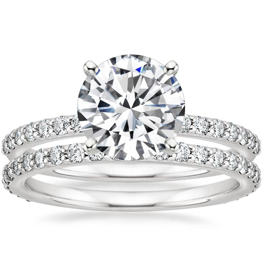 18K White Gold Petite Shared Prong Diamond Ring (1/4 ct. tw.) with Eternity Petite Shared Prong Diamond Ring (1/2 ct. tw.)
