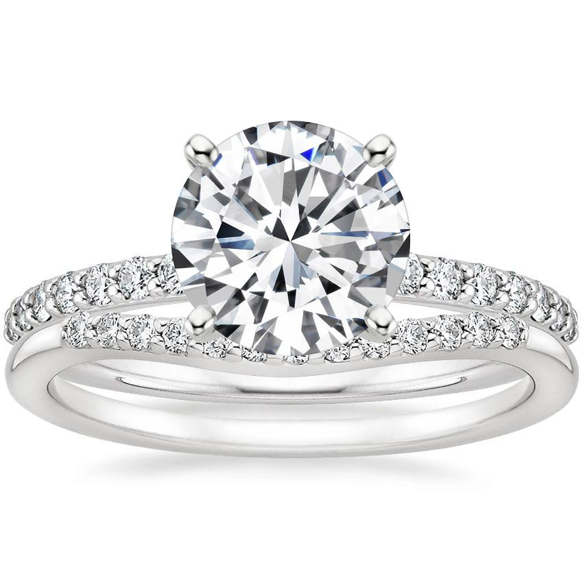 18K White Gold Petite Shared Prong Diamond Ring (1/4 ct. tw.) with Petite Curved Diamond Ring (1/10 ct. tw.)