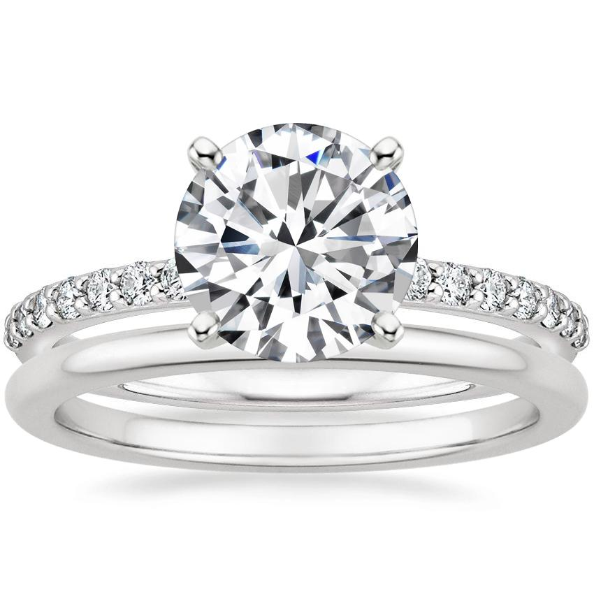 Platinum Petite Shared Prong Diamond Ring (1/4 ct. tw.) with Petite Comfort Fit Wedding Ring
