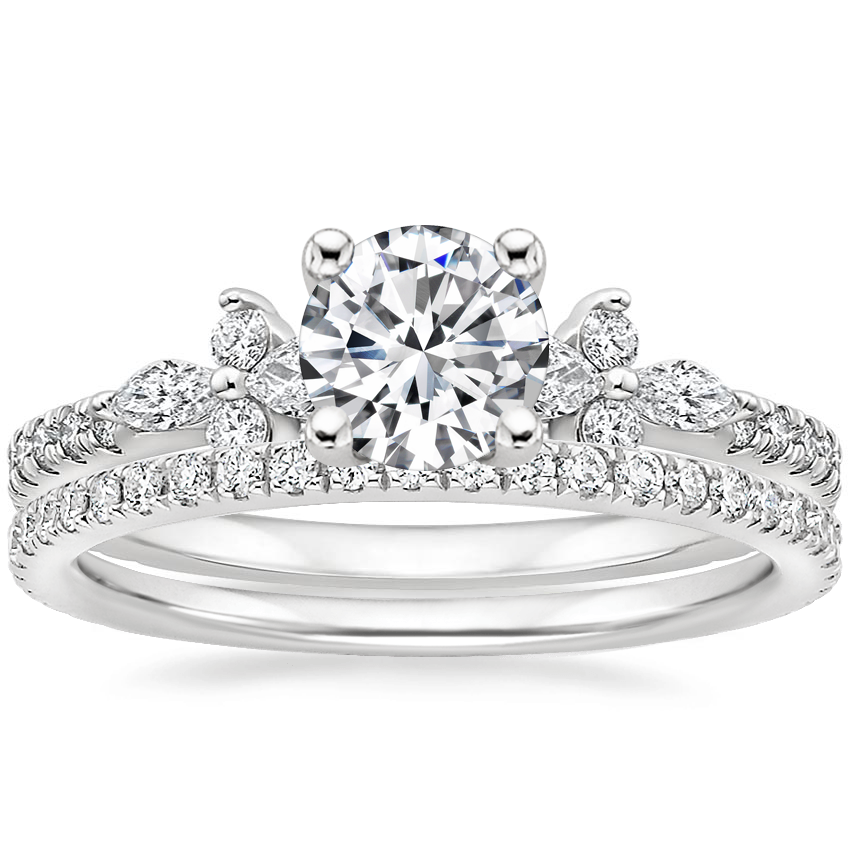 Platinum Iris Diamond Ring (1/3 ct. tw.) with Luxe Ballad Diamond Ring (1/4 ct. tw.)