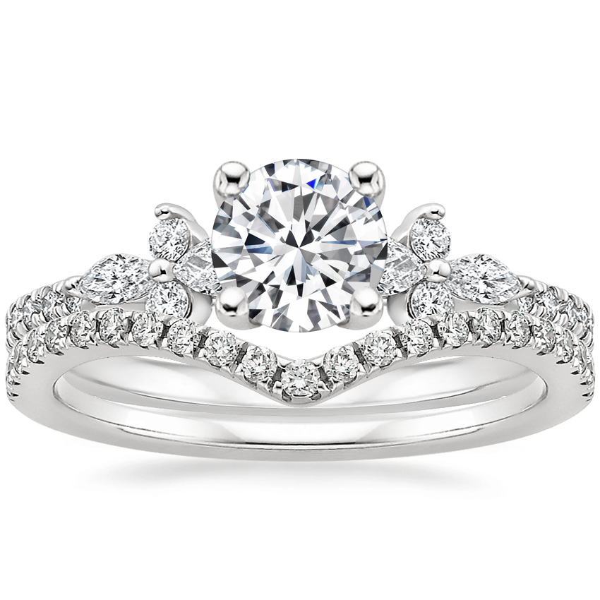 Platinum Iris Diamond Ring (1/3 ct. tw.) with Flair Diamond Ring (1/6 ct. tw.)