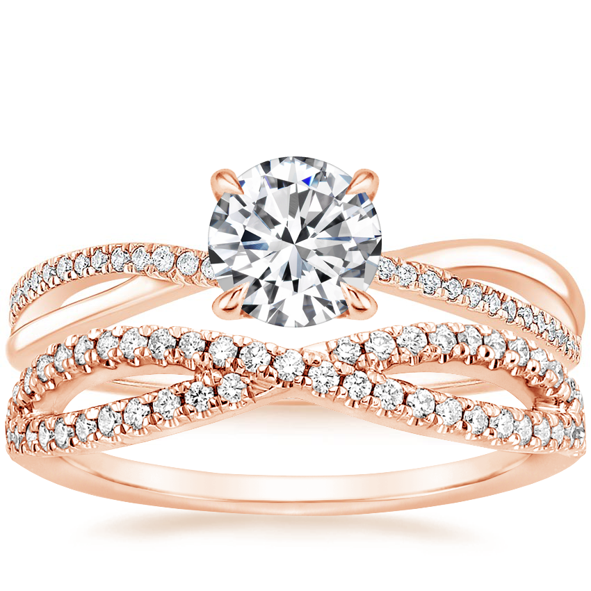 14K Rose Gold Crossover Diamond Ring with Entwined Diamond Ring (1/4 ct. tw.)