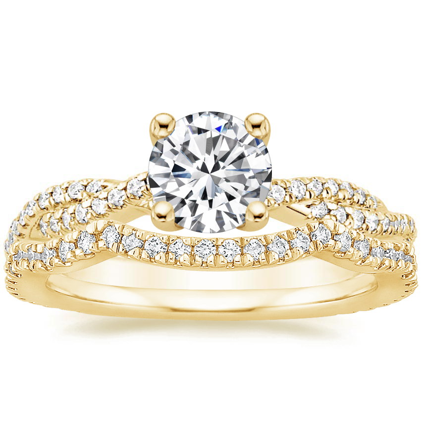 18K Yellow Gold Petite Luxe Twisted Vine Diamond Ring (1/4 ct. tw.) with Petite Twisted Vine Contoured Diamond Ring (1/5 ct. tw.)