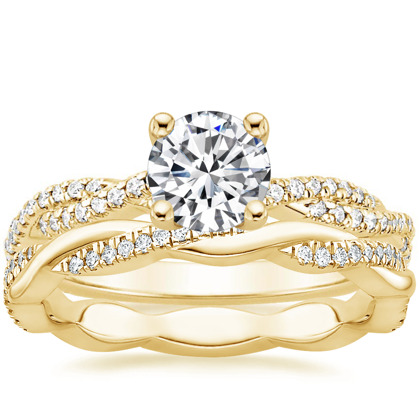 18K Yellow Gold Petite Luxe Twisted Vine Diamond Ring (1/4 ct. tw.) with Petite Twisted Vine Eternity Diamond Ring (1/5 ct. tw.)