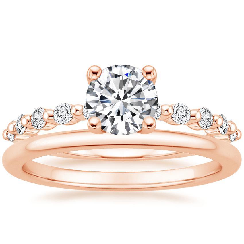 14K Rose Gold Marseille Diamond Ring with Petite Comfort Fit Wedding Ring