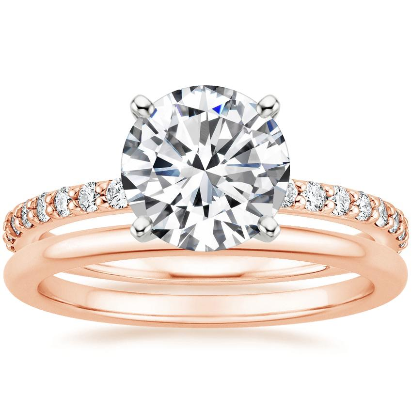 14K Rose Gold Luxe Petite Shared Prong Diamond Ring with Petite Comfort Fit Wedding Ring