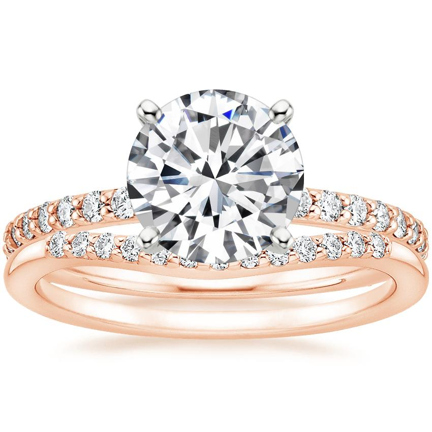14K Rose Gold Luxe Petite Shared Prong Diamond Ring (1/3 ct. tw.) with Petite Curved Diamond Ring (1/10 ct. tw.)