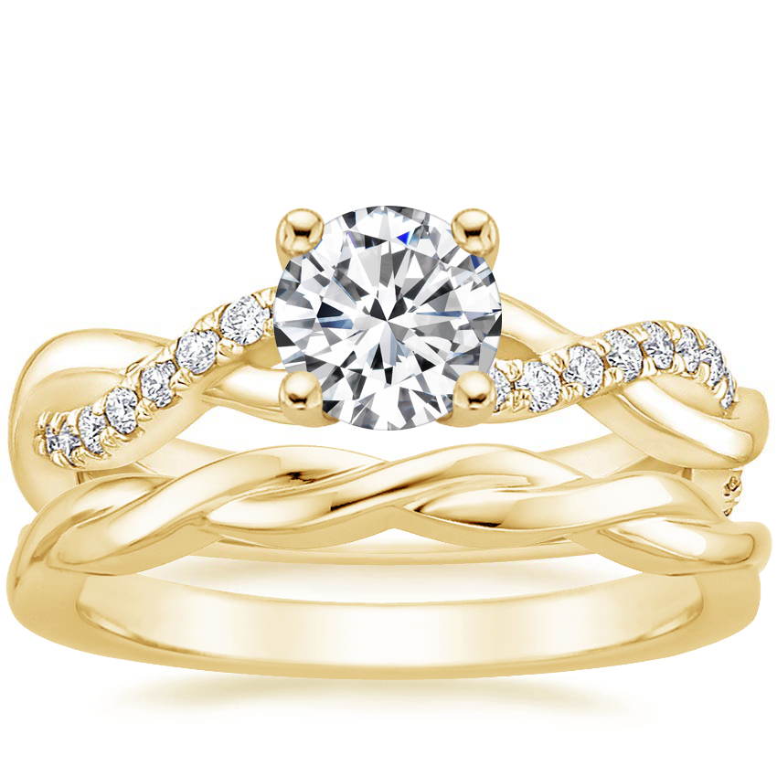 18K Yellow Gold Braided Vine Diamond Ring (1/4 ct. tw.) with Twisted Vine Ring