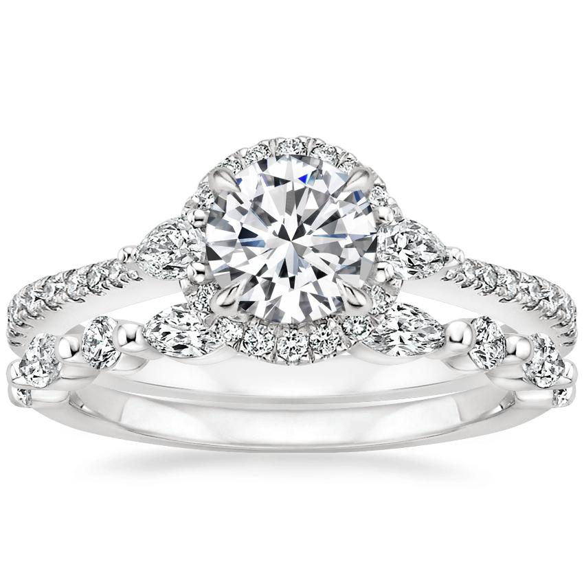 18K White Gold Luxe Aria Halo Diamond Ring with Versailles Diamond Ring (3/8 ct. tw.)