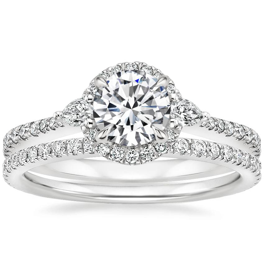 18K White Gold Luxe Aria Halo Diamond Ring with Luxe Ballad Diamond Ring (1/4 ct. tw.)