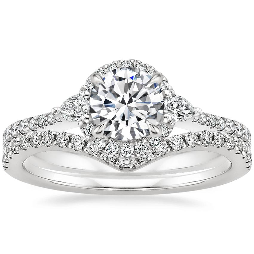 Platinum Luxe Aria Halo Diamond Ring with Flair Diamond Ring (1/6 ct. tw.)