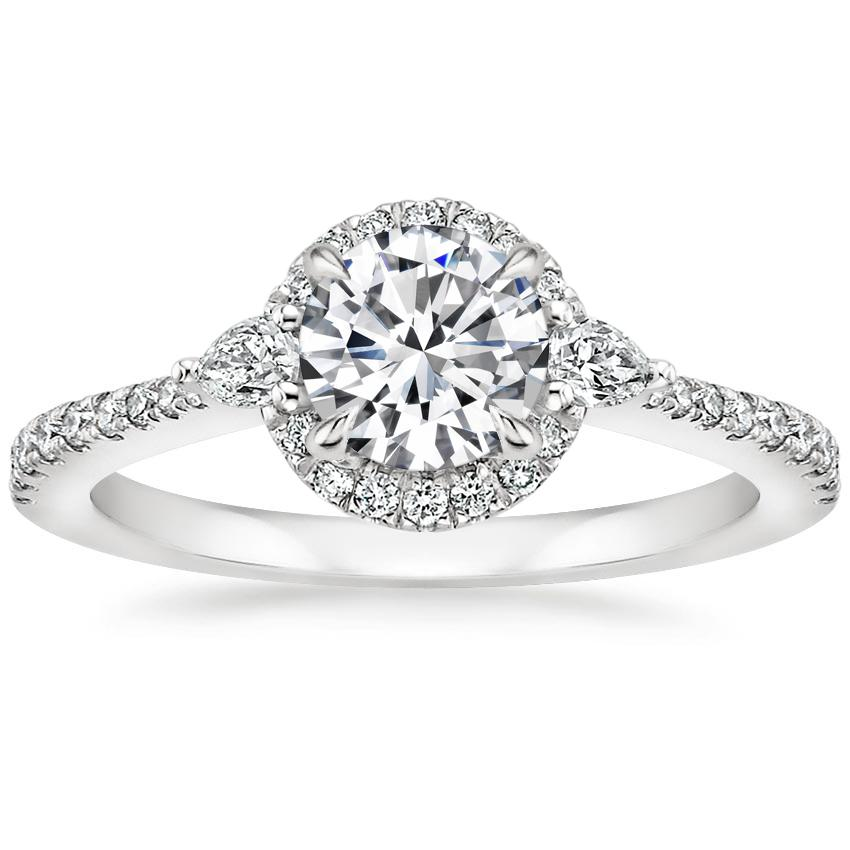 Round Pear Halo Diamond Ring