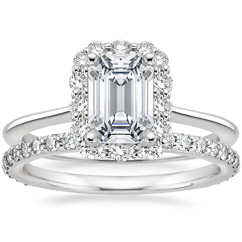 18K White Gold Calla Diamond Ring (1/3 ct. tw.) with Luxe Petite Shared Prong Diamond Ring (3/8 ct. tw.)
