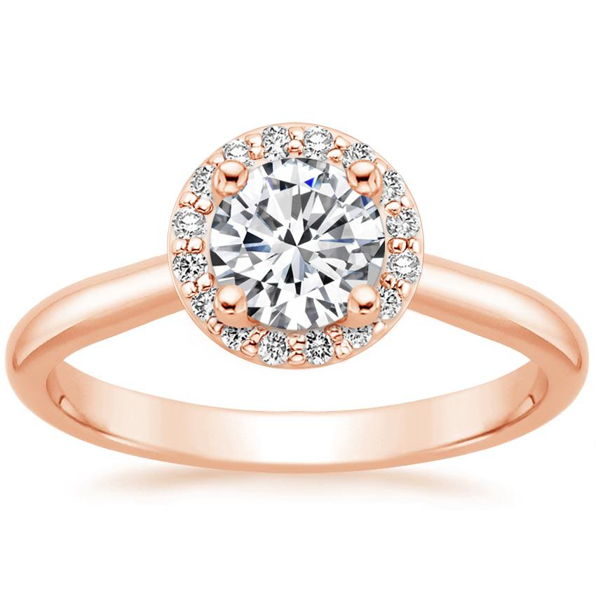 14K Rose Gold Halo Diamond Ring (1/8 ct. tw.), top view
