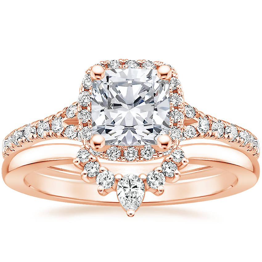 14K Rose Gold Joy Diamond Ring (1/3 ct. tw.) with Lunette Diamond Ring