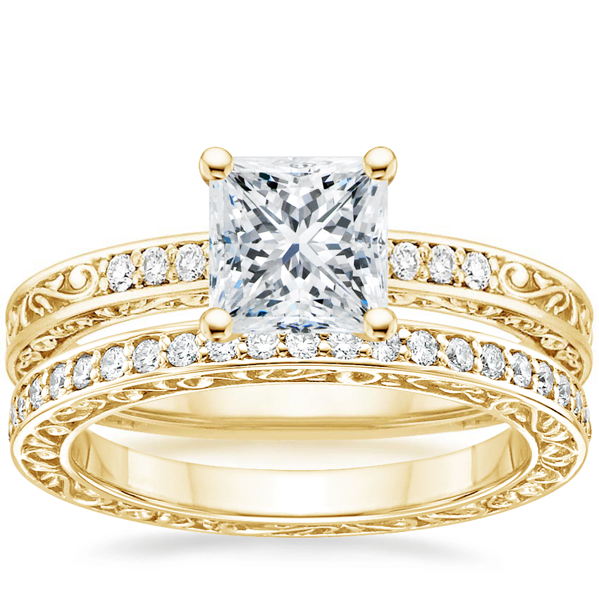 18K Yellow Gold Delicate Antique Scroll Diamond Ring with Delicate Antique Scroll Eternity Diamond Ring (2/5 ct. tw.)