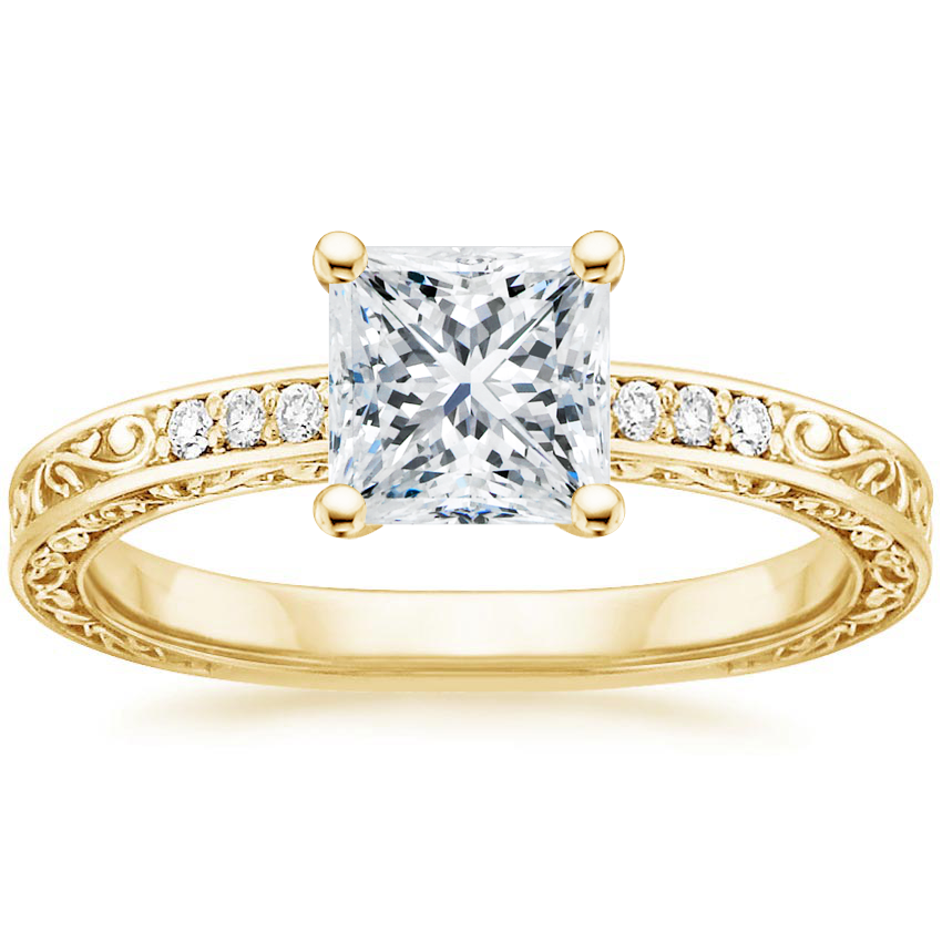 Princess 18K Yellow Gold Delicate Antique Scroll Diamond Ring