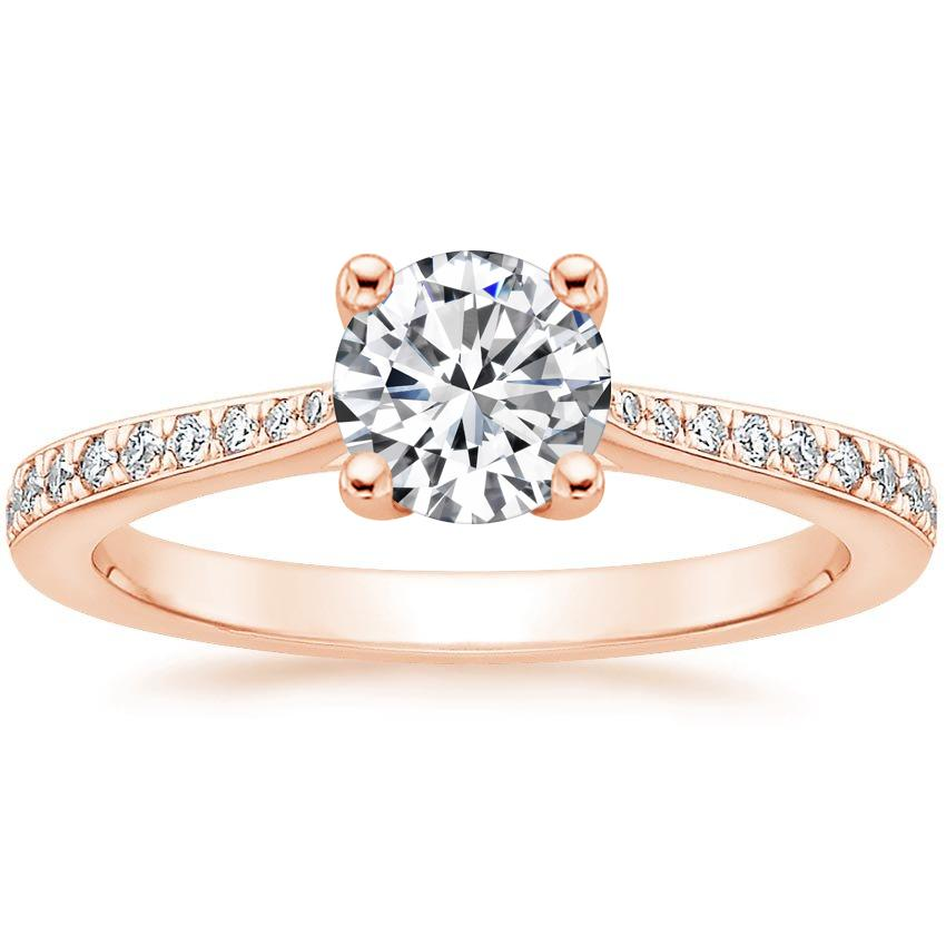 Round Tapered Pavé Diamond Ring