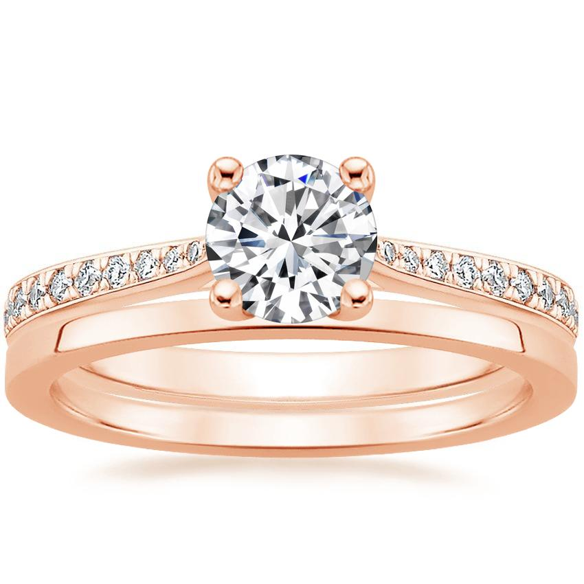 14K Rose Gold Geneva Diamond Ring with Petite Quattro Wedding Ring
